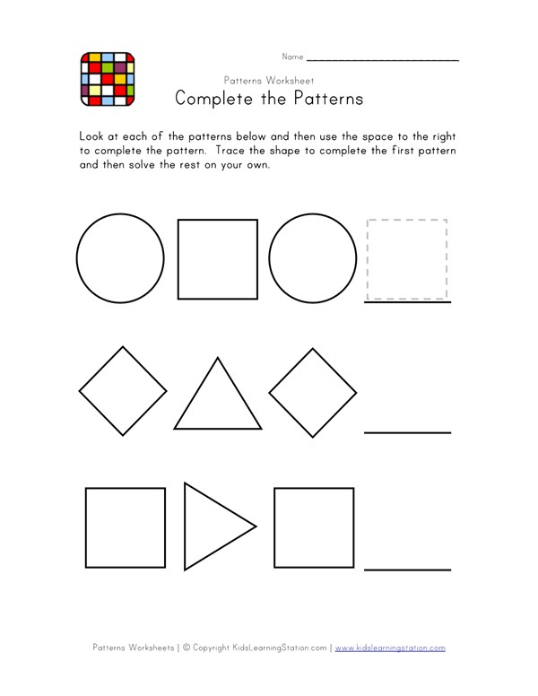 Easy Preschool Patterns Worksheet 2