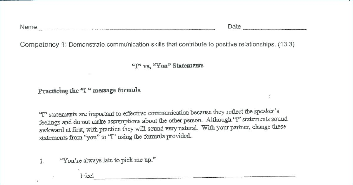 Effective Communication Worksheets Adults Free Positive Self