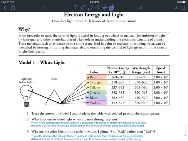 Electron Energy And Light Worksheet Answers]