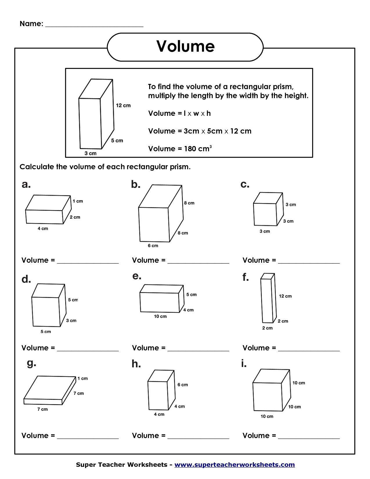 Elementary Math Volume Worksheets 1129162