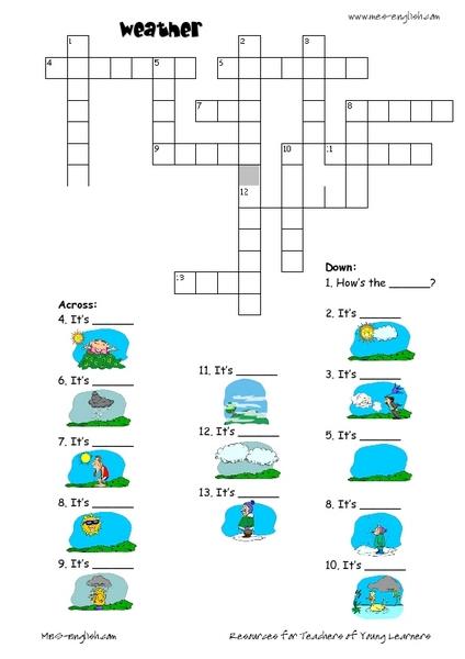 Enchanting Worksheets Weather Crossword For Weather Crossword