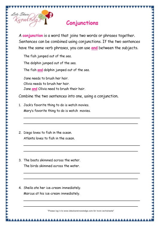 English Worksheets For Class 3
