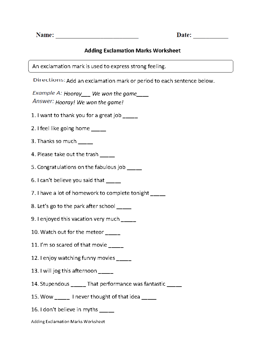 Englishlinx Com Exclamation Marks Worksheets  Grade 4 Maths