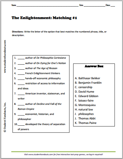 Enlightenment Matching Worksheets