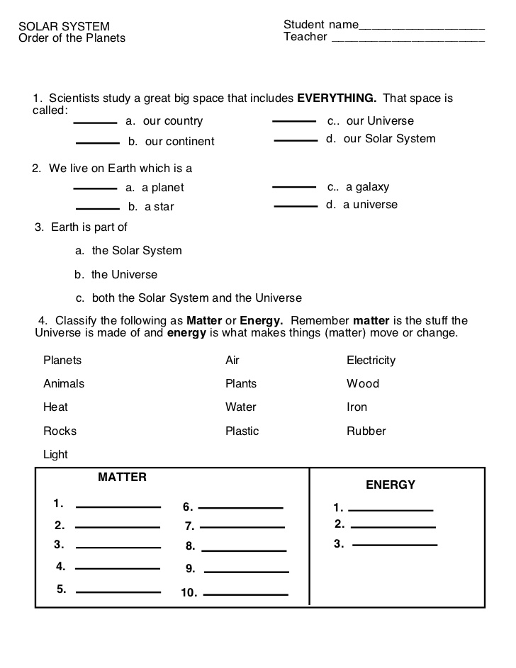 Erosion Worksheet Year 3