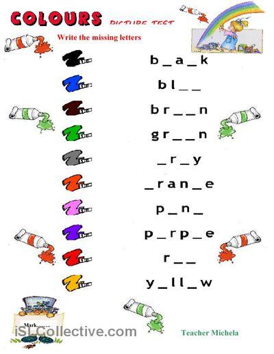 Esl Kindergarten Colors Worksheet  369212
