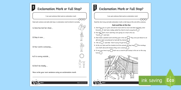 Exclamation Mark Or Full Stop Differentiated Worksheet