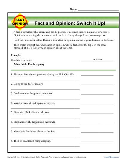 Fact And Opinion Worksheets 2nd Grade Worksheets For All