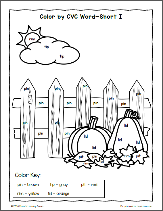 Fall Color By Number Worksheets  484230