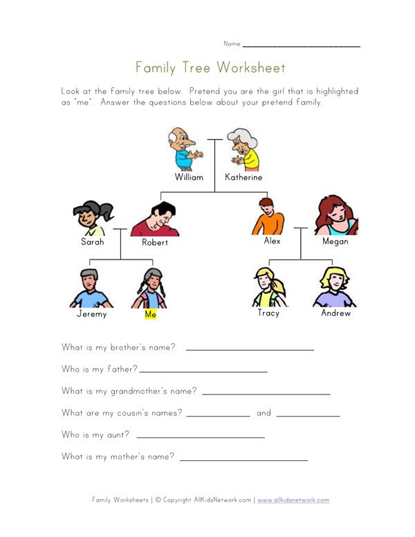 Family Tree Worksheet For Kids