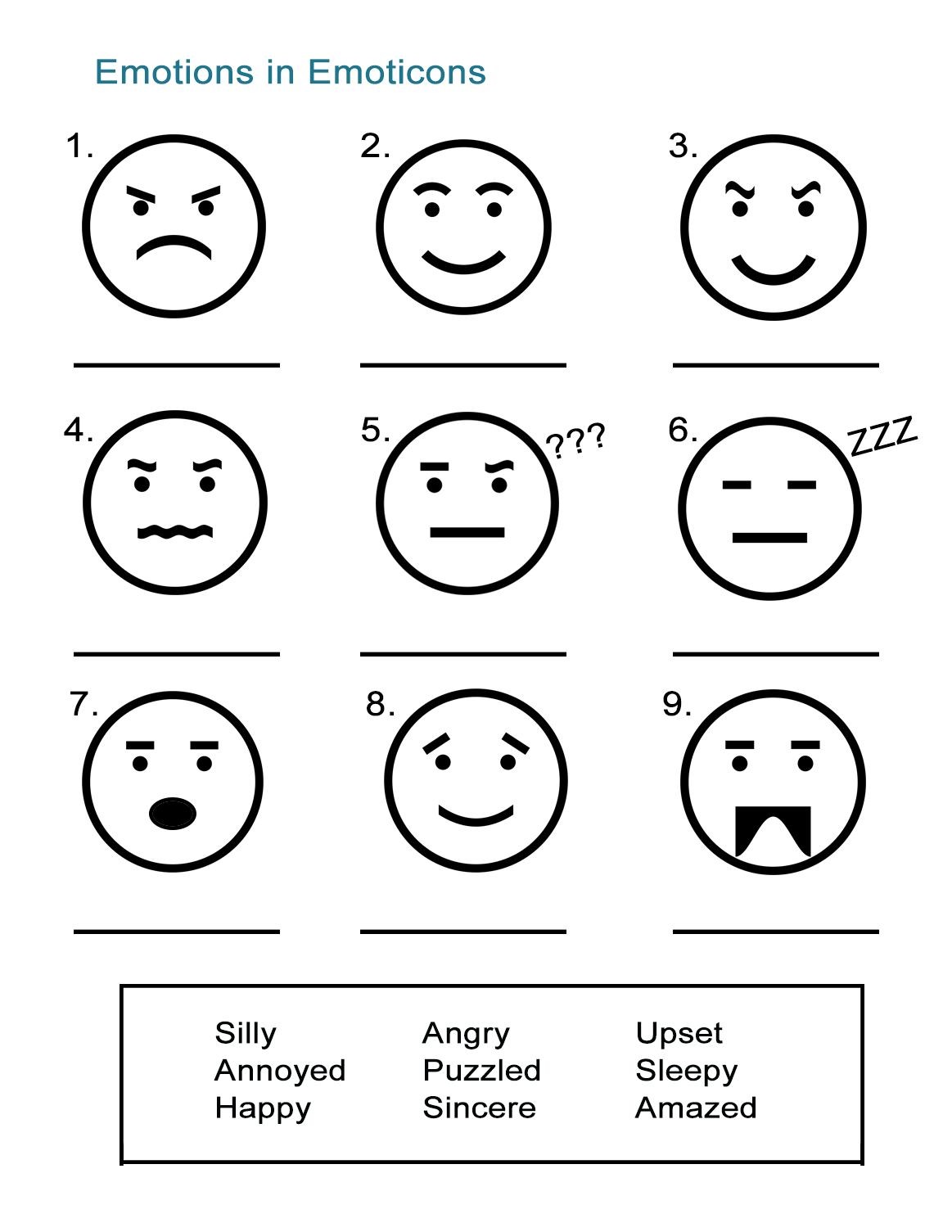 Feelings And Emotions Worksheets 1023198