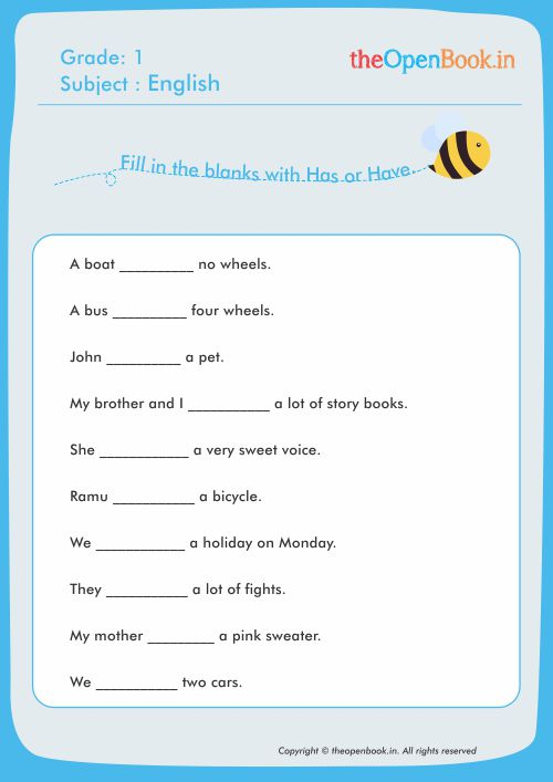 Fill In The Blanks With Has Or Have