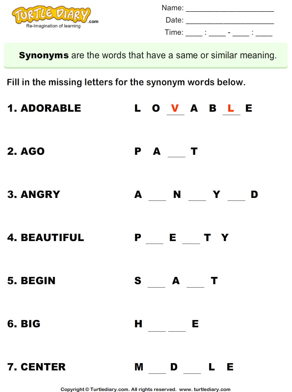 Fill In The Missing Letters To Complete Synonym Words Worksheet