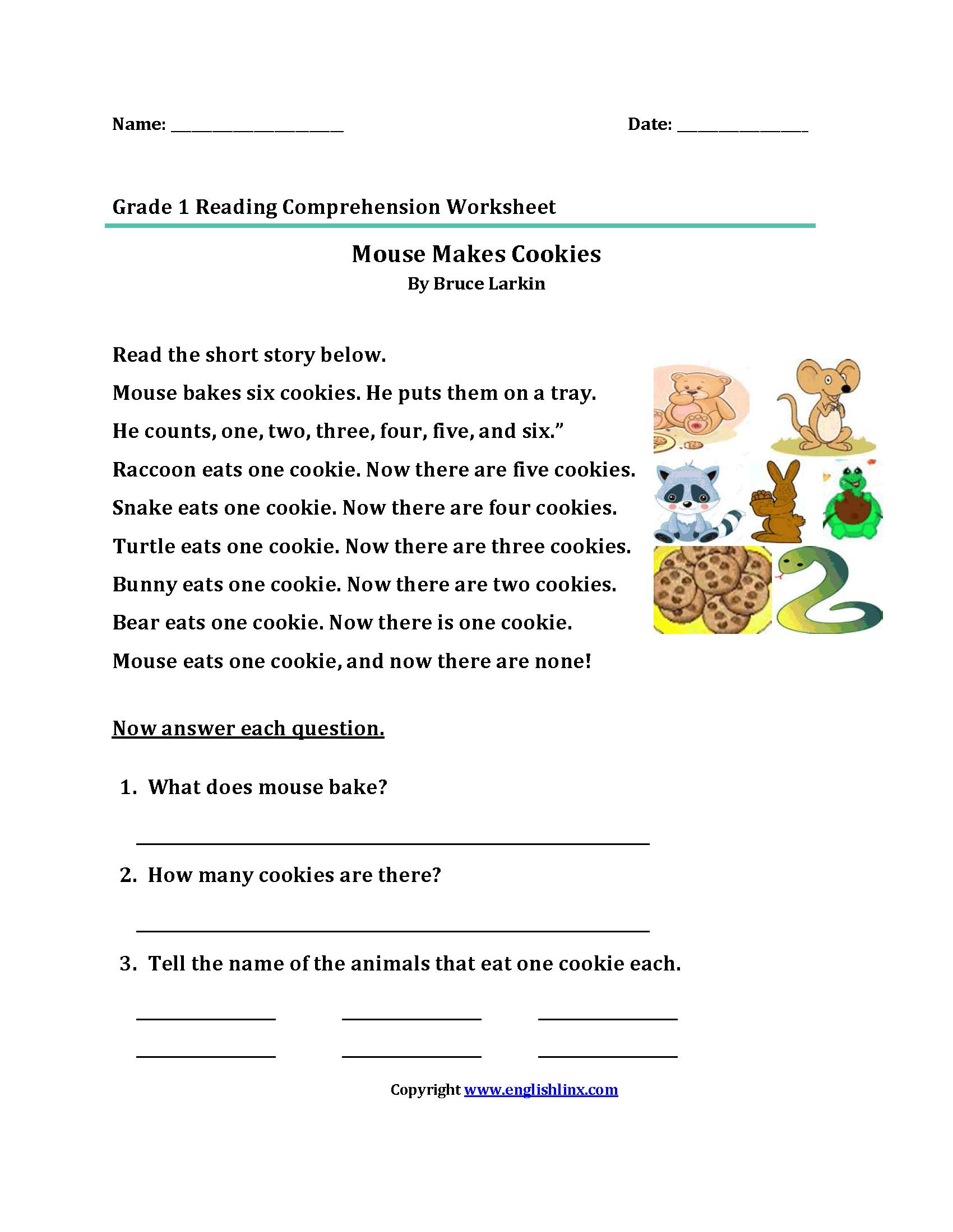 First Grade Comprehension Worksheets  60582