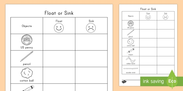 Float Or Sink Worksheet   Activity Sheet