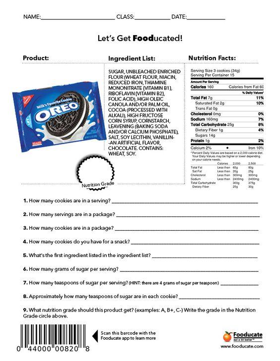 18 Informative Food Label Worksheets