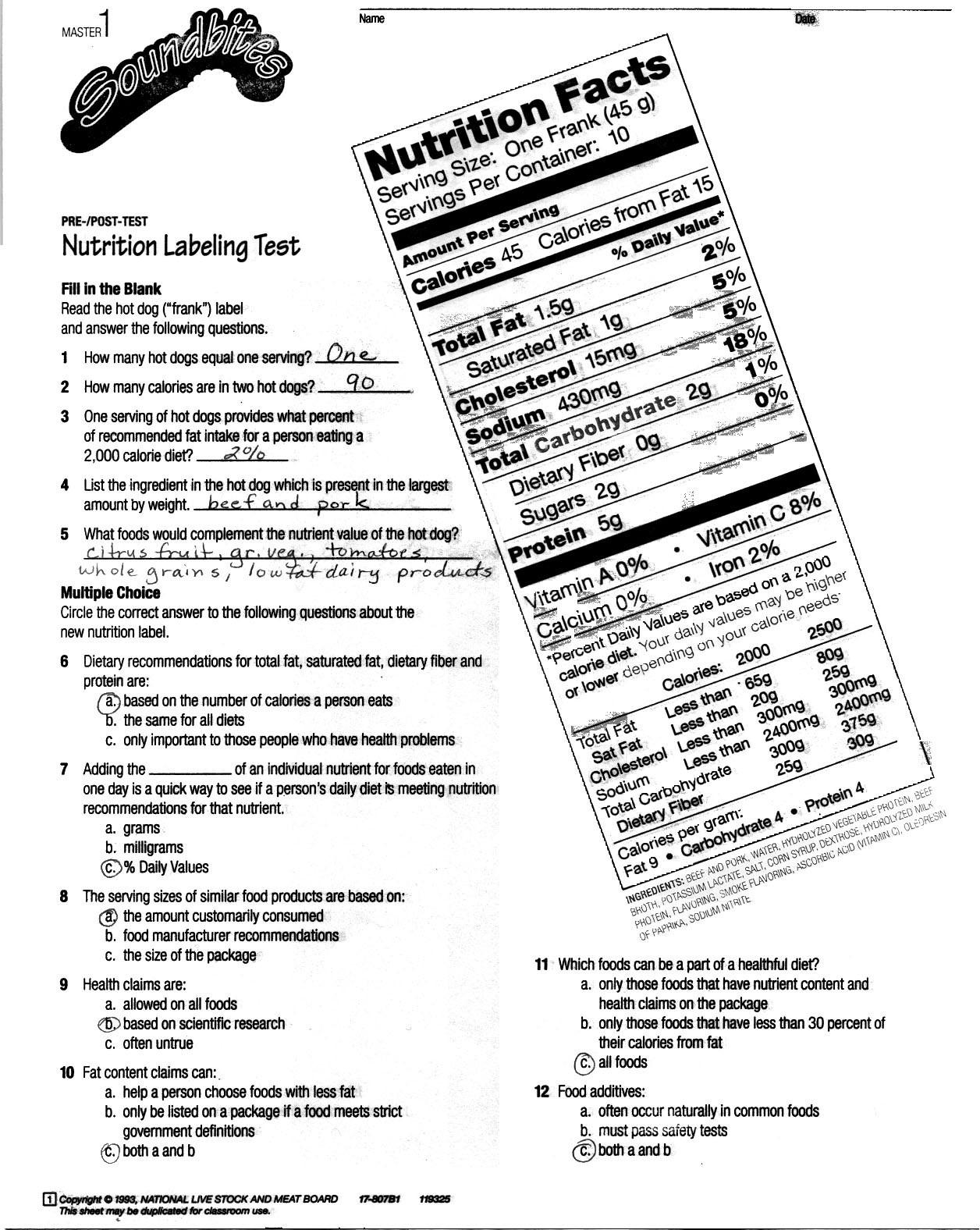 Imágenes De Food Label Lesson Plans For Middle School