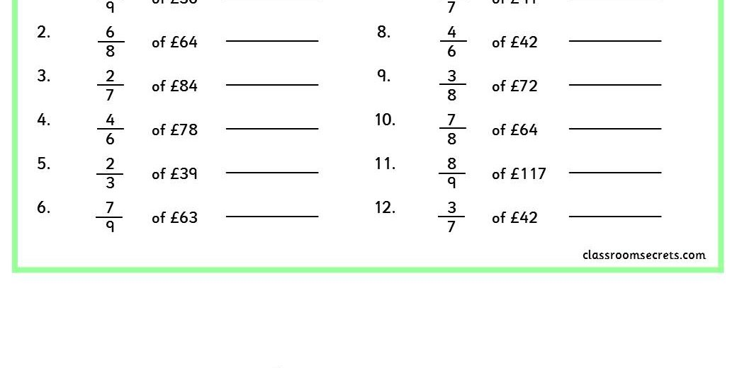 Fractions Of Amounts Worksheets