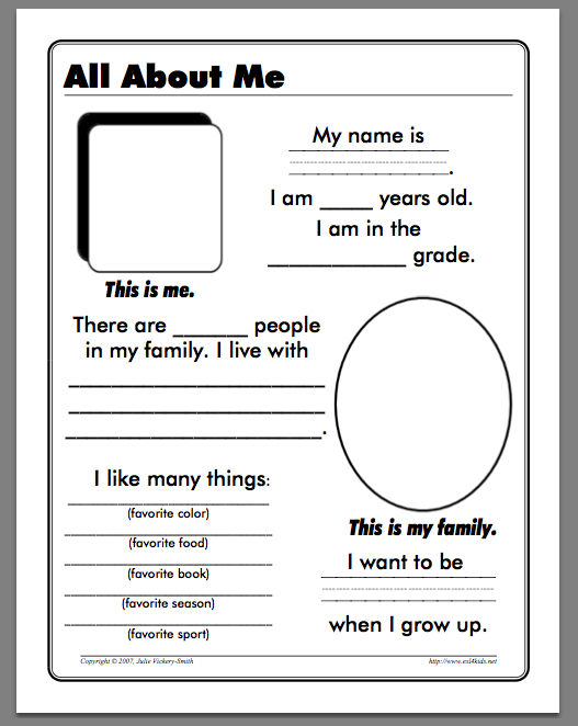 Free All About Me Worksheet For Kindergarten Free, About Me