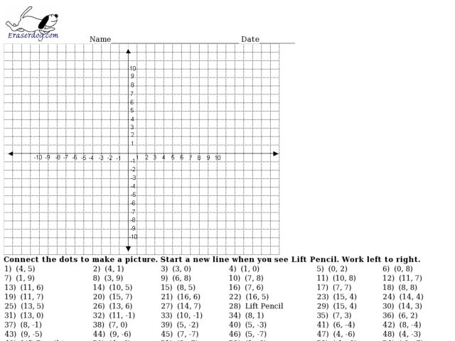 Free Coordinate Graphing Mystery Picture Worksheets On Printable