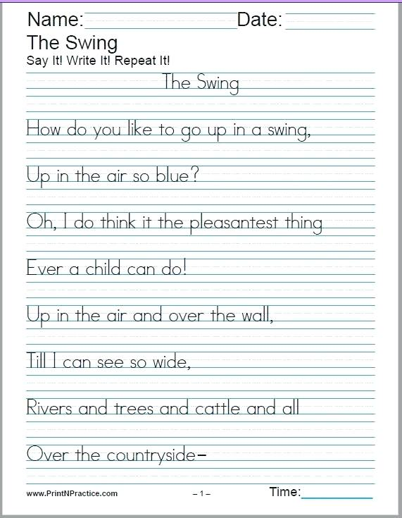 Free Handwriting Worksheets For Third Grade