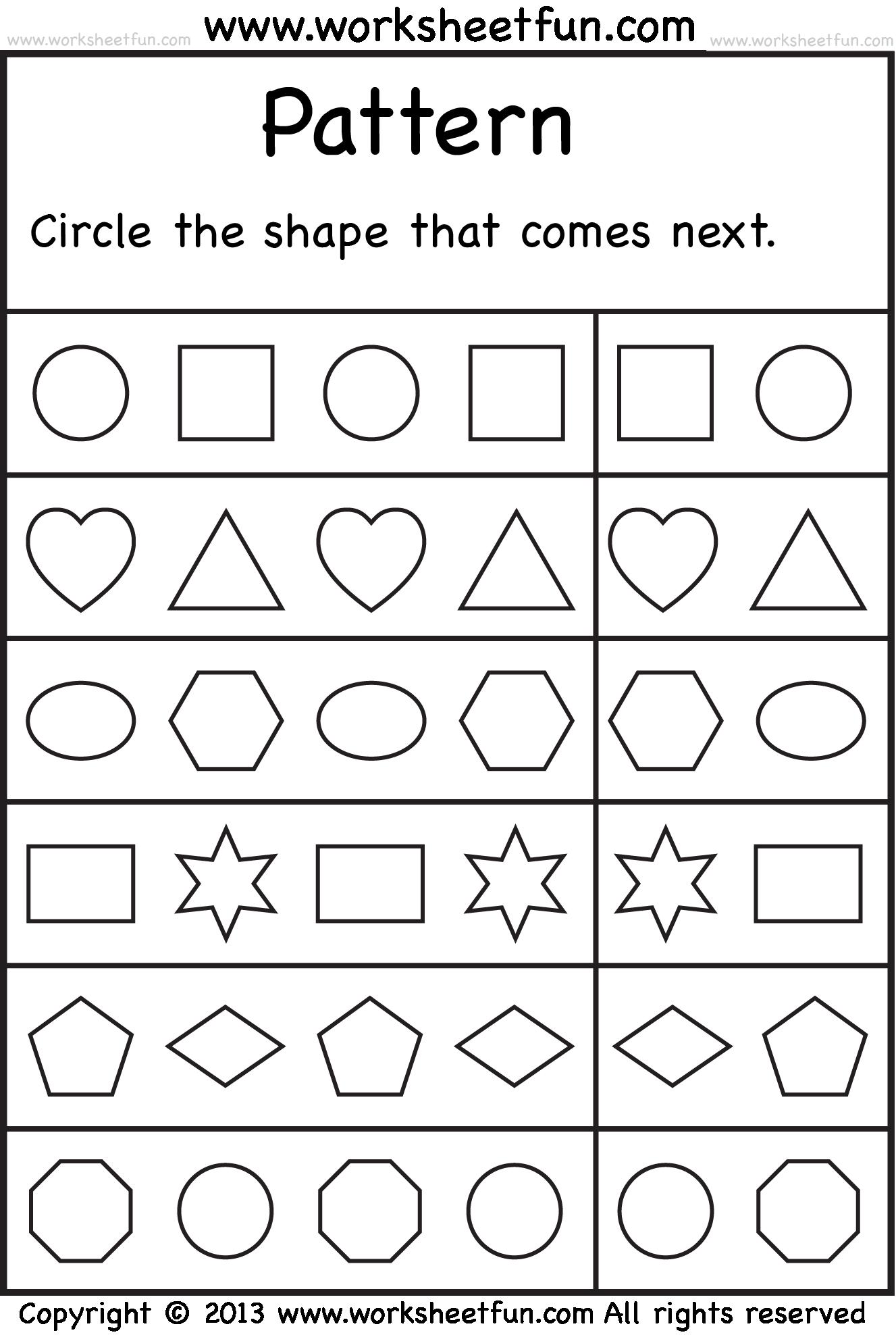 Free Kindergarten Patterns Worksheets Printable 1102033