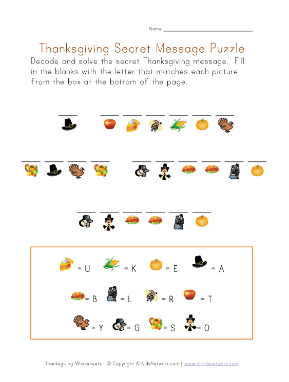 Free Kindergarten Thanksgiving Worksheets Printables