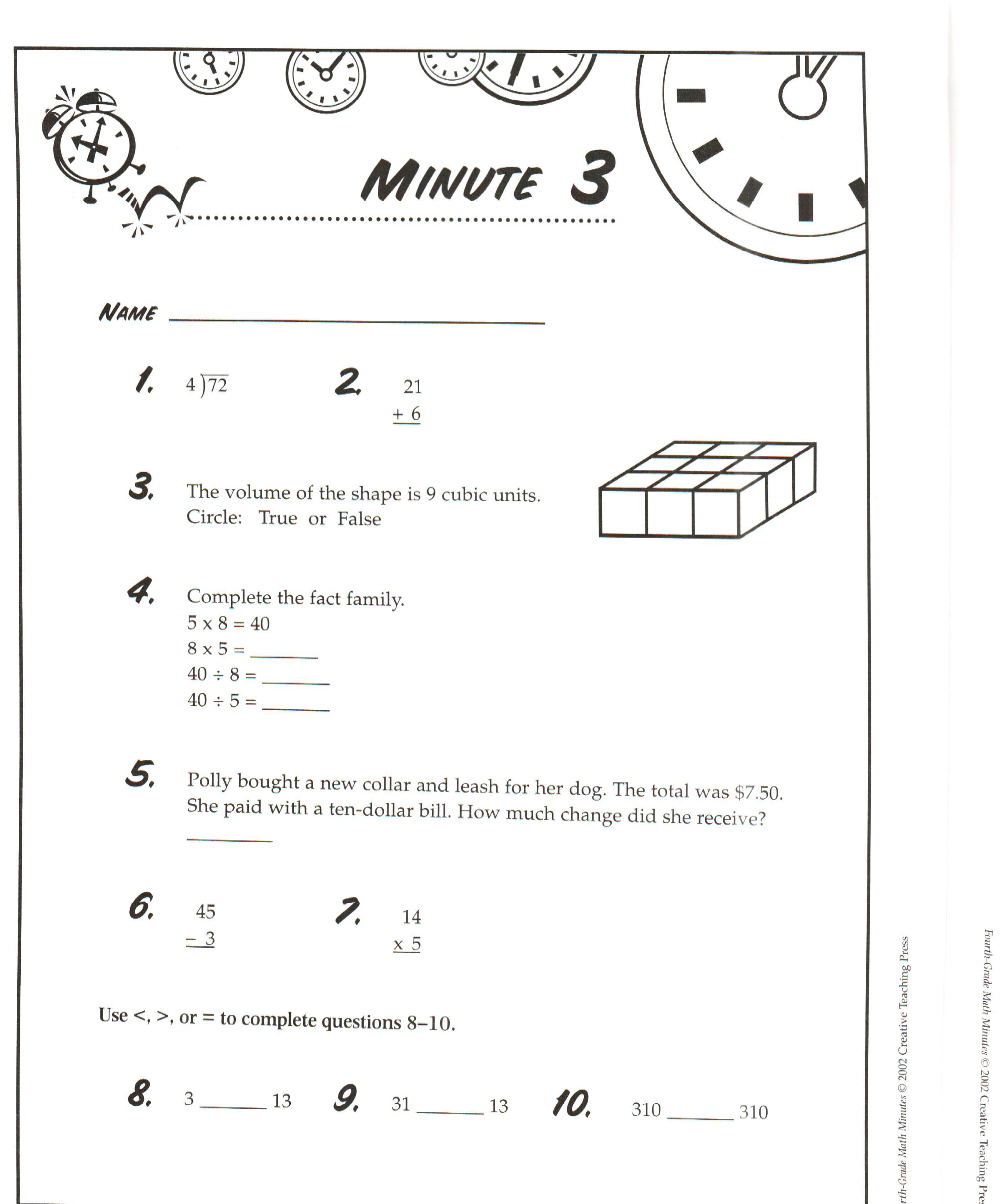 Free Math Minute Worksheets 359157