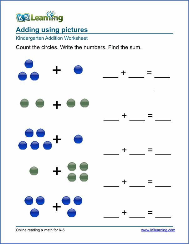 Free Math Worksheets For Kindergarten Addition  96313
