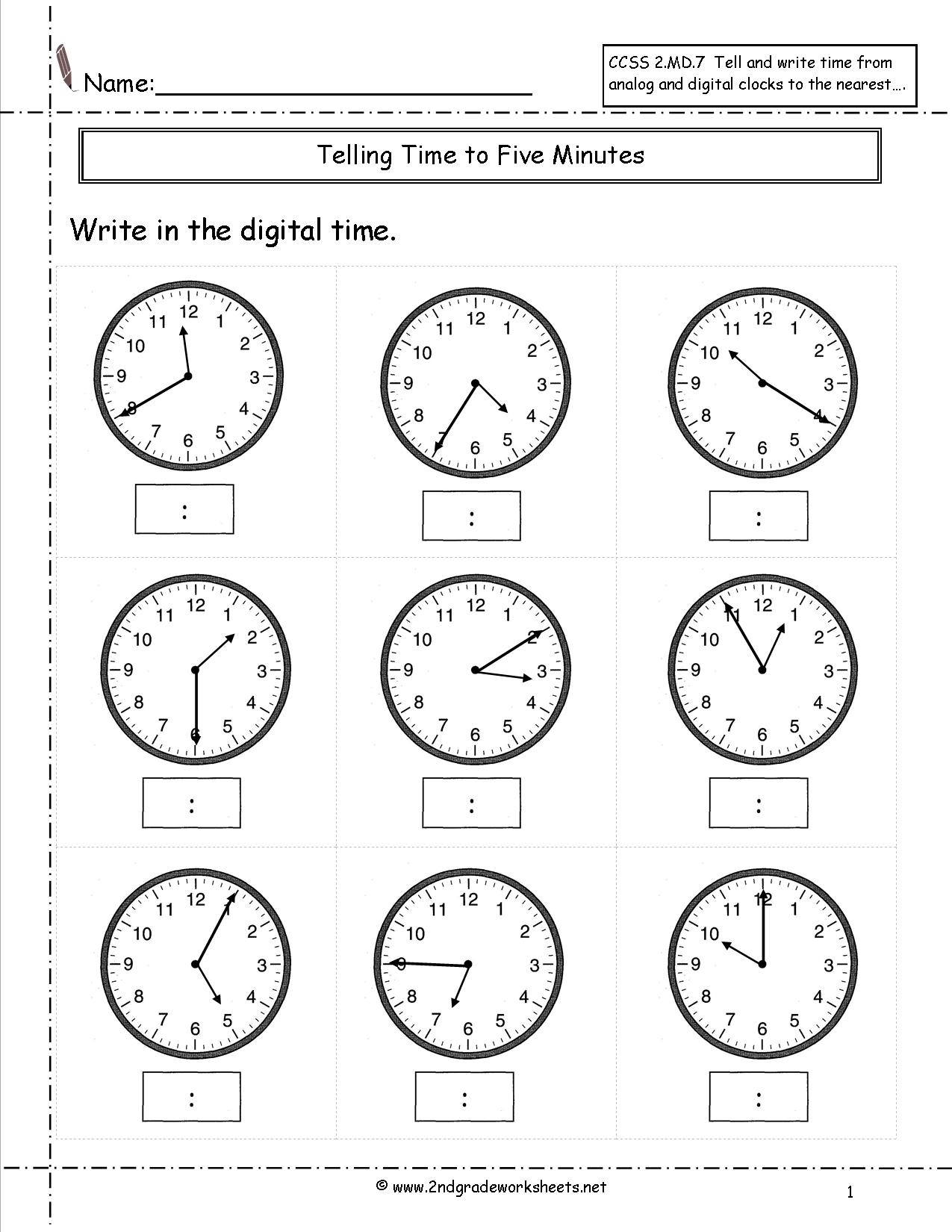 Free Math Worksheets Telling Time To The Minute  766967