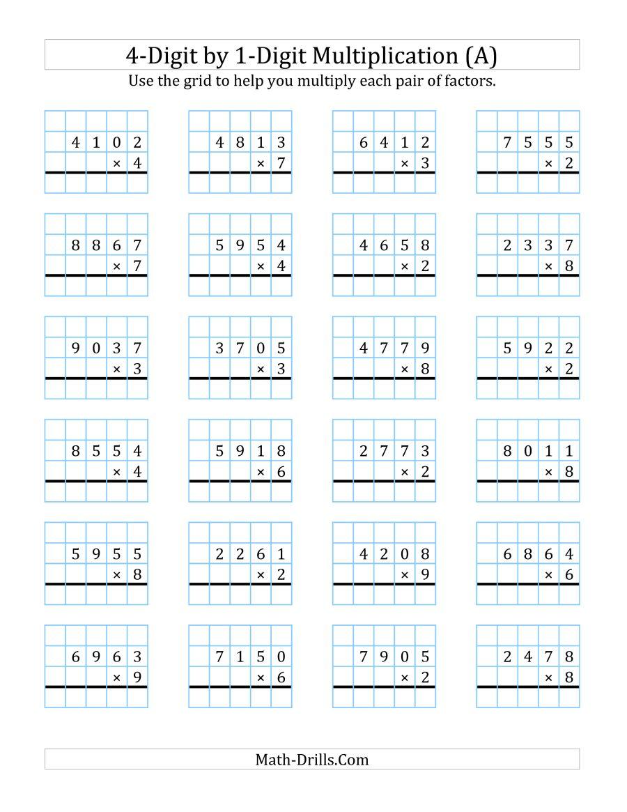 Free Printable 4 Digit Multiplication Worksheets  116796