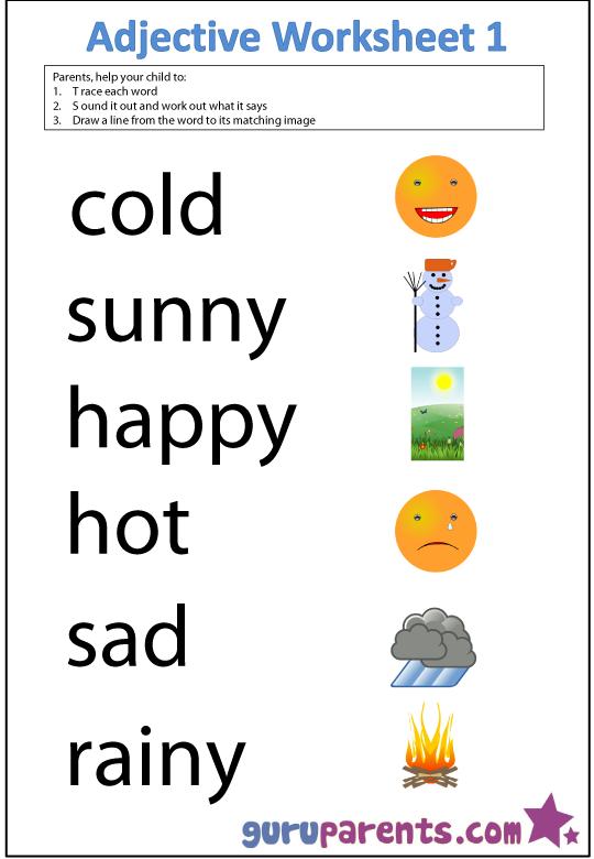 Free Printable Adjective Worksheets For Kindergarten  800916
