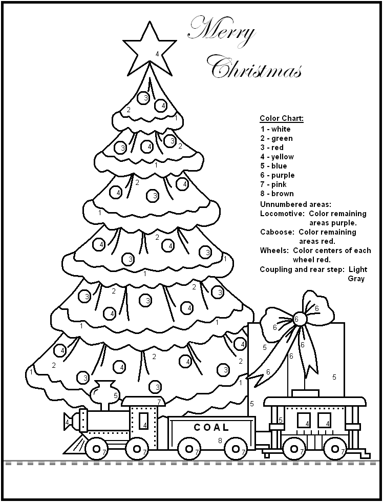 Free Printable Christmas Color By Number Worksheets Christmas