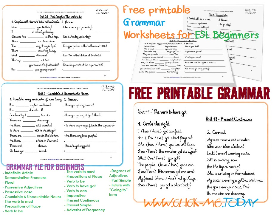 Free Printable Esl Grammar Worksheets For Beginners, Grammar
