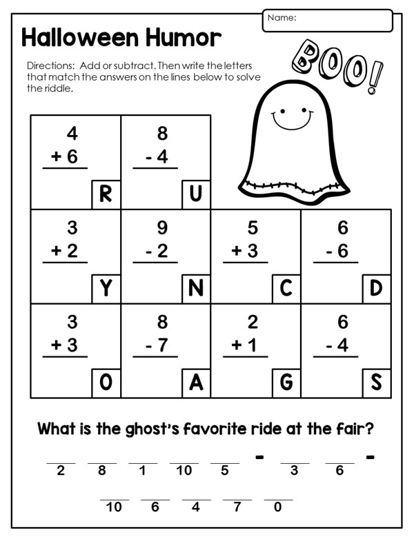 Free Printable Halloween Math Worksheets First Grade