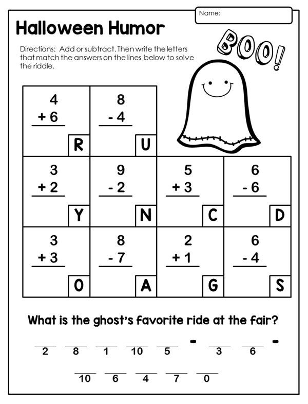 Free Printable Halloween Math Worksheets First Grade