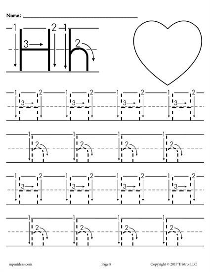 Free Printable Letter H Tracing Worksheet With Number And Arrow