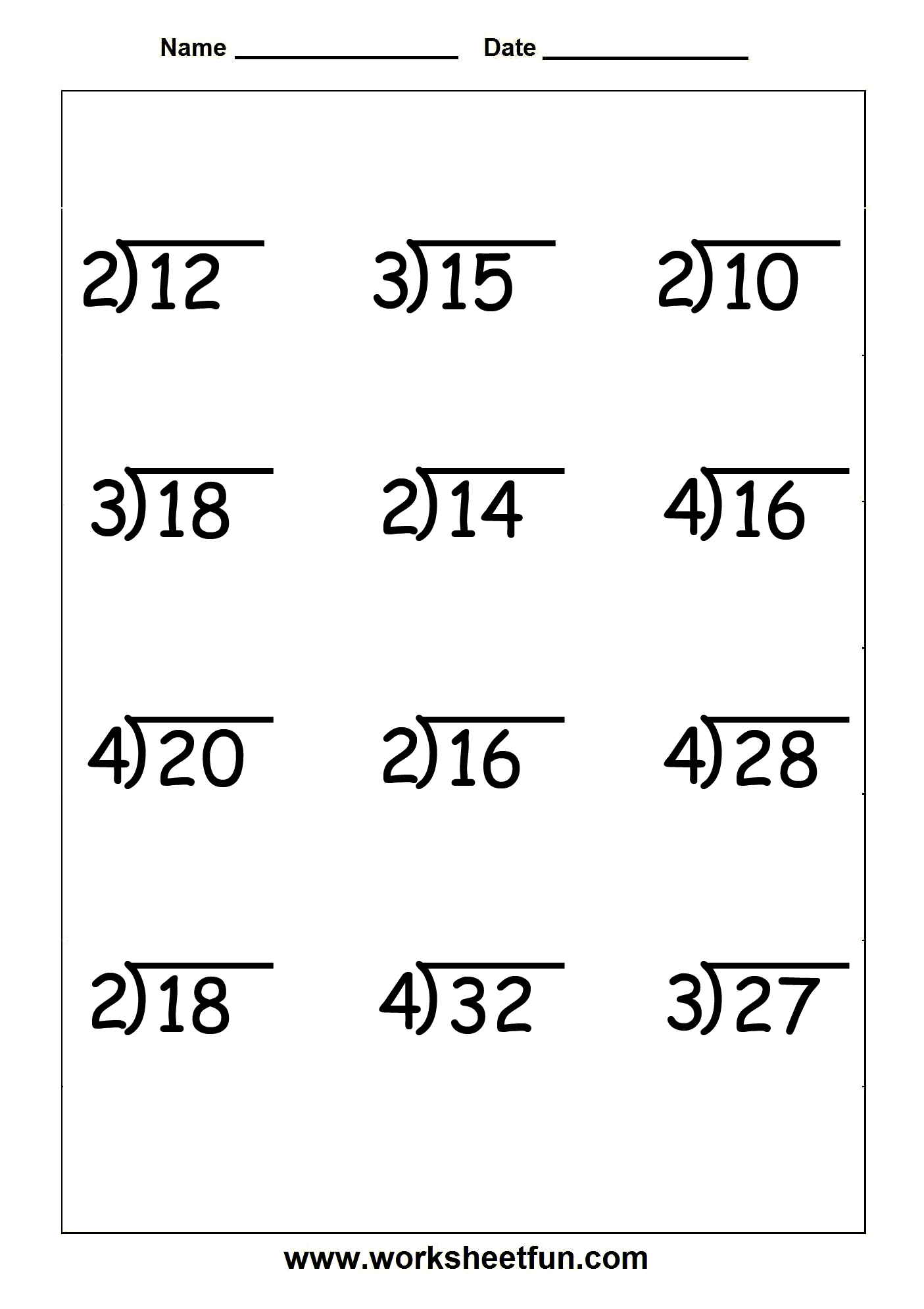 Free Printable Math Division Worksheets For 3rd Grade  799857