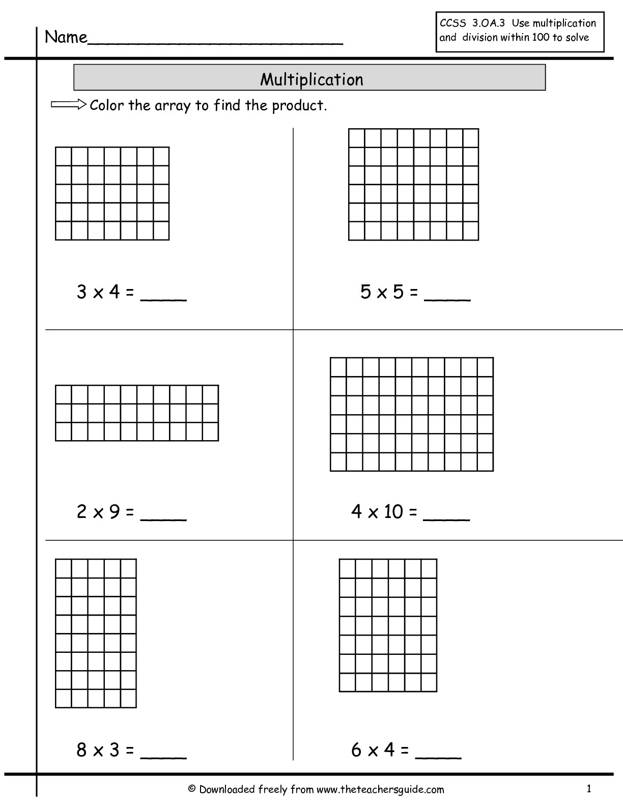 Free Printable Multiplication Array Worksheets  785331