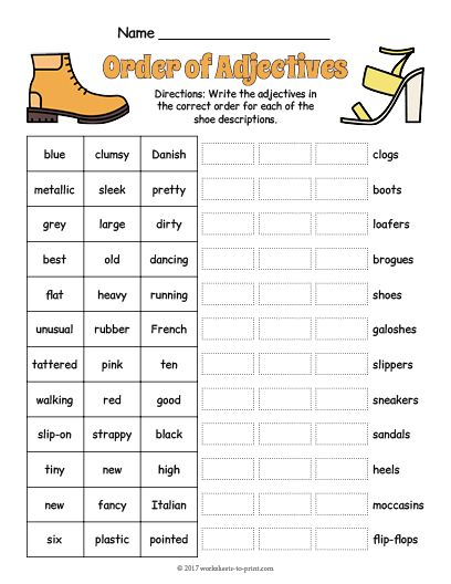 Free Printable Order Of Adjectives Worksheet