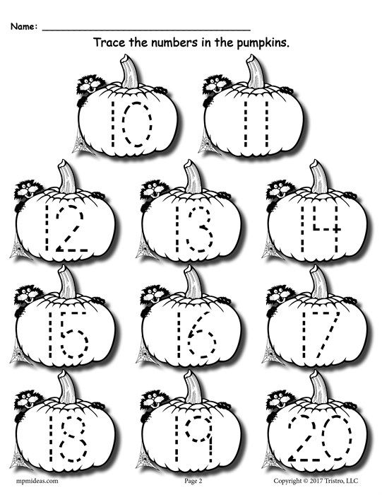 Free Printable Pumpkin Number Tracing Worksheets 1