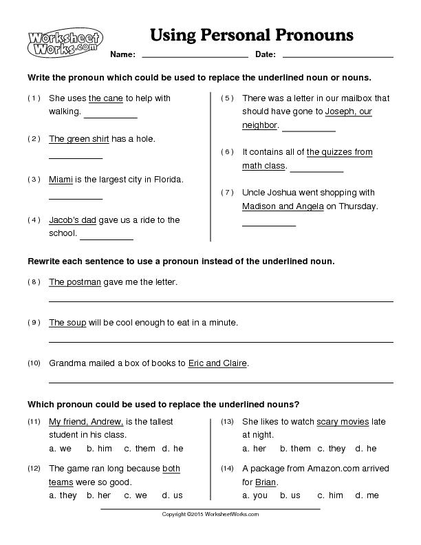 Free Pronoun Worksheets 1284701