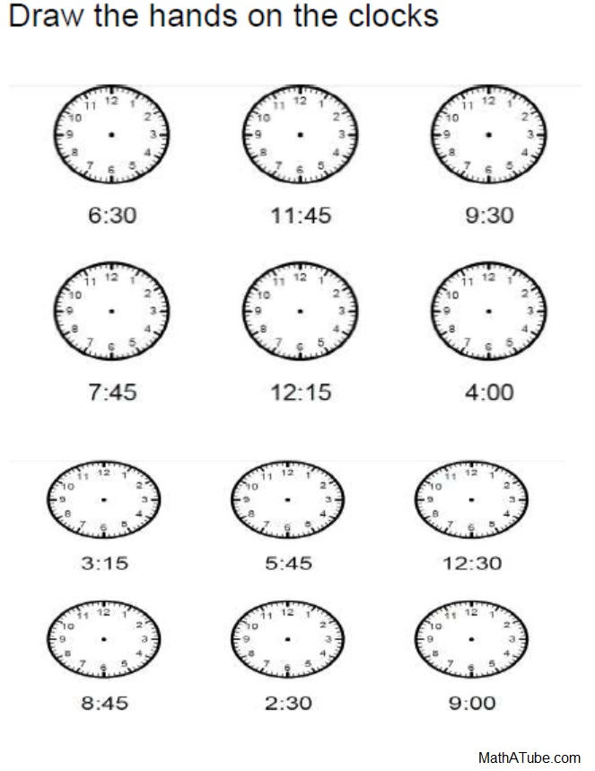 Free Telling Time Worksheets, Missing Hands Time Clock, Elapsed