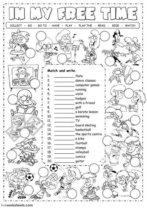 Free Time Activities Interactive And Downloadable Worksheet  You