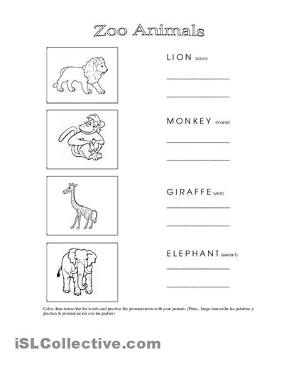 Free Zoo Animals Worksheets For Kindergarten  125962