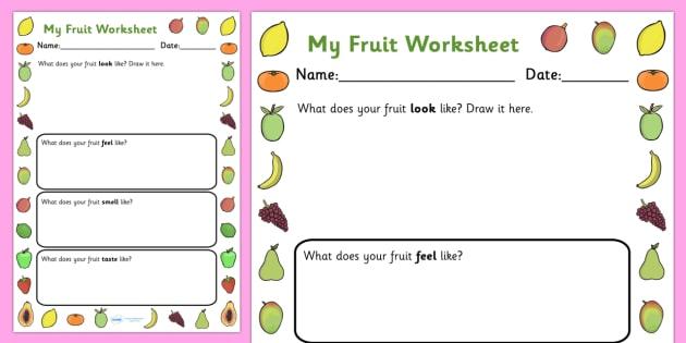 Fruits Description Worksheet