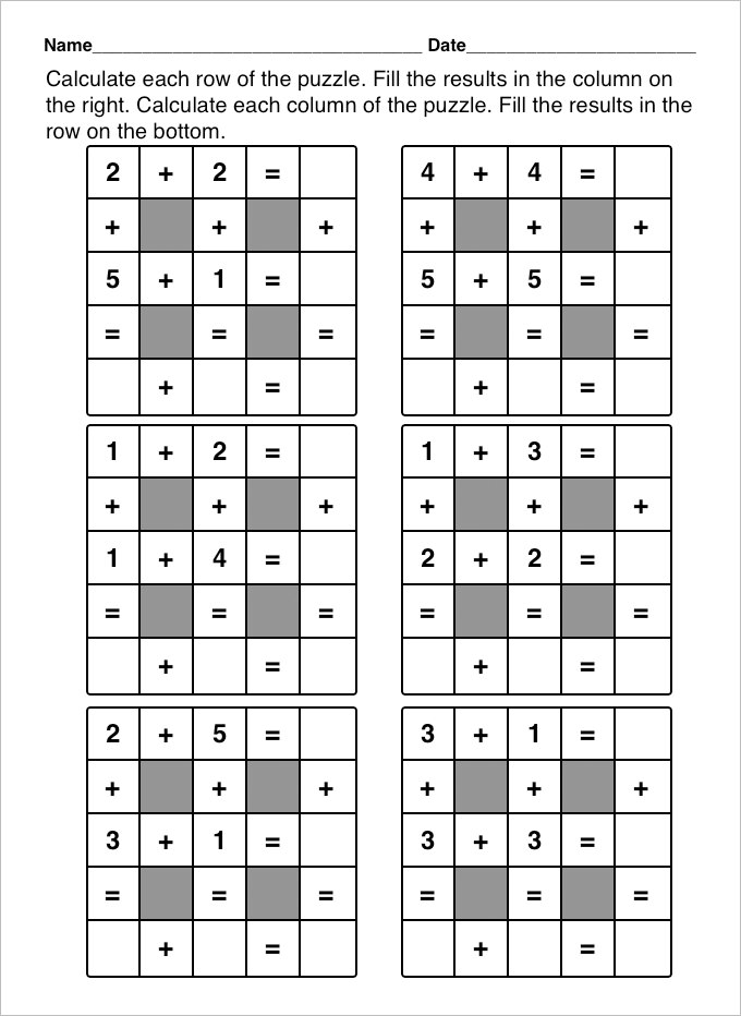 Fun Math Worksheets And Puzzles 1202022