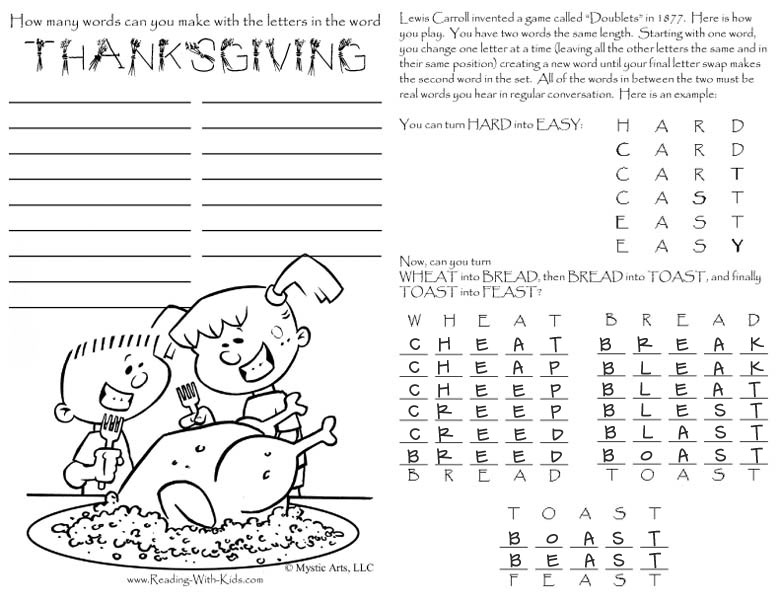 Fun Page Activities Thanksgiving Placemat Turkey Kids Answers