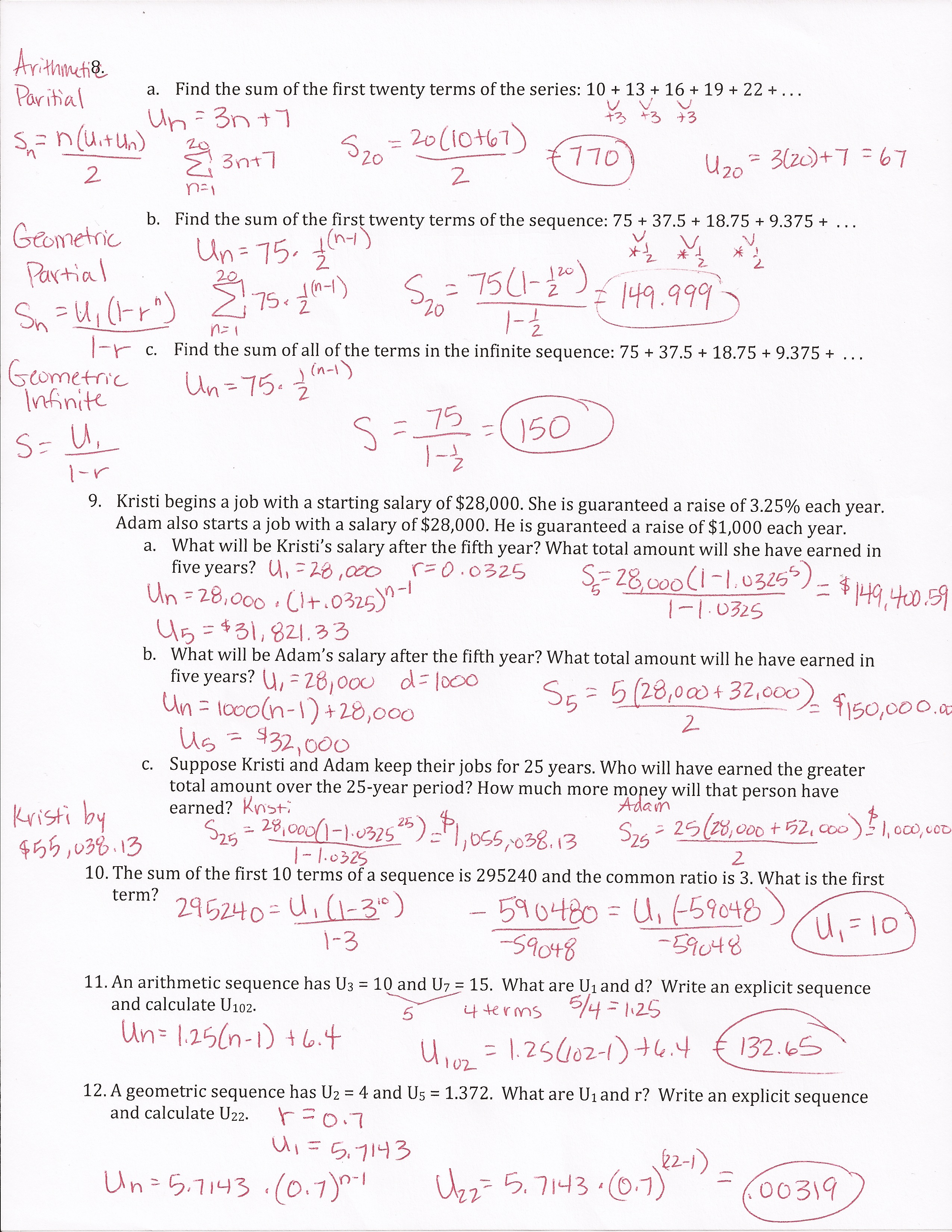 Geometric Series Worksheet Doc