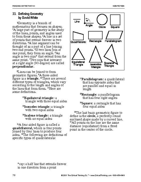 Geometry Vocabulary Worksheet High School